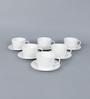 Clay Craft Golf Plain Bone China 200 ML Cup & Saucer - Set of 6