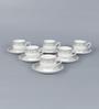 Clay Craft Karina S302 Bone China 200 ML Cup & Saucer - Set of 6