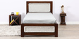 Coram Single Bed with Handwoven Headboard in Provincial Teak Finish by Woodsworth