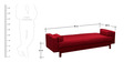 Cosy supersoft Sofa bed  with Armrest in Red colour by Furny