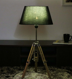 Cocovey Black Cotton Floor Tripod Lamp - 1579648