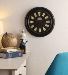 Cocovey Black Wooden 15 Inch Round Vintage Wall Clock