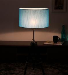Cocovey Blue Silk Floor Tripod Lamp