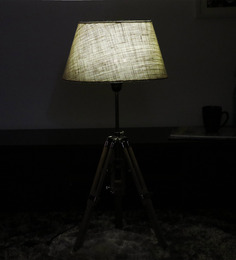 Cocovey Off White Cotton Floor Tripod Lamp - 1579645