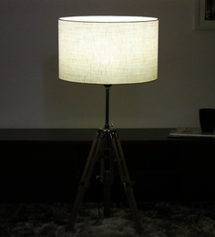 Cocovey Off White Jute Floor Tripod Lamp - 1579642