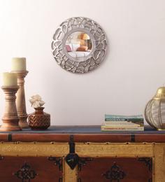 Cocovey Silver Aluminium Round Decorative Mirror
