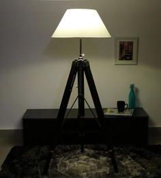 Cocovey White Cotton Floor Tripod Lamp - 1579636
