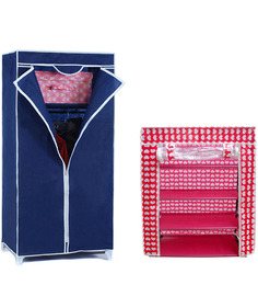 Combo Blue Wardrobe Organizer with Red Four Layer Shoe Rack by Pindia