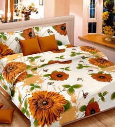 Cortina Premium Floral Brown Satin Double Bed Sheet (with Pillow Covers) -