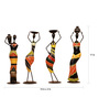 Cocovey Multicolour Metal African Lady Farmer Figurine - Set of 4