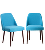 Corfinio Accent Chair (Set of 2) in Blue Color with Cappuccino Legs by CasaCraft