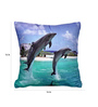 Cortina Blue Polyester 16 x 16 Inch Velvet Dolphin Print Cushion Cover