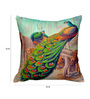 Cortina Multicolor Polyester 16 x 16 Inch Velvet Peacock Print Cushion Covers - Set of 2