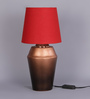 Courtyard Jaipuri Copper Gradiation Table Lamp With Red Shade