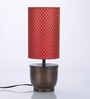 Courtyard Banaras Antique Base Table Lamp With Red Brocade Shade