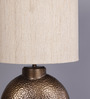 Courtyard Ashram Antique Table Lamp With Oval Matka Silk Shade