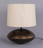 Courtyard Chowk Antique Table Lamp With Matka Silk Shade