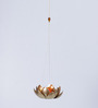 Courtyard Copper Iron Hanging Tea Light Holder with Orange Glass