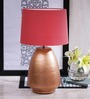 Courtyard Stupa Lamp With Copper Base And Red Shade
