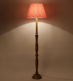 Craftter Treditional Keri Design Orange Color Wooden Floor Lamp