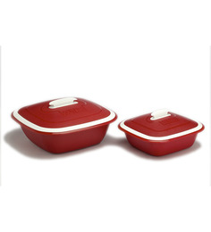 Cutting Edge Solitaire Double Walled Casseroles 2pcs - Red