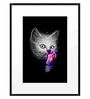 DailyObjects Paper Cat Slurp Framed Art Print