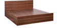 Checkers Queen Bed with Box Storage in Walnut & Dark Acacia Matt Finish by Debono