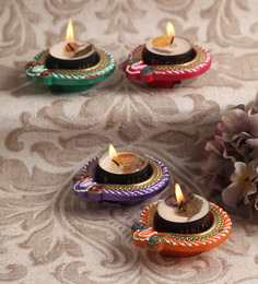 Decardo Multicolour Clay Fancy Diwali Diya - Set Of 4 - 1524389