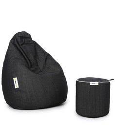 Denim Bean Bag (Set Of 2) & Round Puffy Filled With Beans In Black Colour By Can