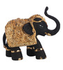Decardo Black & Golden Terracotta with Gold Plating Mini Elephant Showpiece