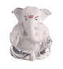 Decardo White & Silver Terracotta with Gold Plating Ganesh Idol