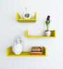 Decornation Yellow MDF U-Shaped Wall Shelf - Set of 3