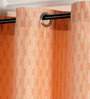 Deco Essential Peach Bud Polyester 46 x 90 Inch Jacquard Eyelet Door Curtain - Set of 2