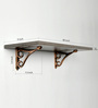 Deco Home Dark Brown Solid Wood & Aluminium Wall Shelf with Antique Copper Brackets
