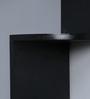 AYMH Black MDF Corner Unit Designer Zigzag Shape Durable Wall Shelf