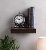 AYMH Brown Iron & Wood Single Flat Floating Wall Shelf