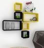 AYMH Black & Yellow Floating Cube Rectangle Wall Shelf Rack - Set of 6