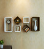AYMH White & Brown MDF Floating Cube Rectangle Wall Shelf - Set of 6