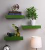 AYMH Green MDF Floating Wall Shelf - Set of 3