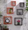 AYMH Orange & Brown MDF Nesting Square Wall Shelves - Set of 6