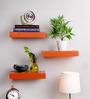 AYMH Orange MDF Floating Wall Shelf - Set of 3
