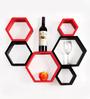 AYMH Red & Black MDF Wall Mount Hexagon Shape Wall Shelf - Set of 6