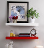 AYMH Red & White MDF Floating Wall Shelf - Set of 2