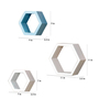 AYMH White & Blue MDF Durable Hexagon Wall Shelf - Set of 6