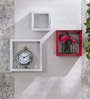 AYMH White & Red MDF Nesting Square Wall Shelves - Set of 3