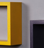 AYMH Yellow & Purple MDF Nesting Square Wall Shelves - Set of 6
