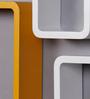 AYMH Yellow & White MDF Cube & Rectangle Designer Wall Shelves - Set of 6
