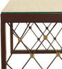 Designer Metal Coffee Table with Tempered Glass In Walnut / Gold by Artistic Indians