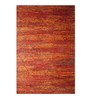 Designs View Orange Recycled Saree Silk 96 x 60 Inch Hand Knotted Cho-Cho Carpet