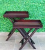 Deziworkz Brown Wooden Large Butler Tray Table Set